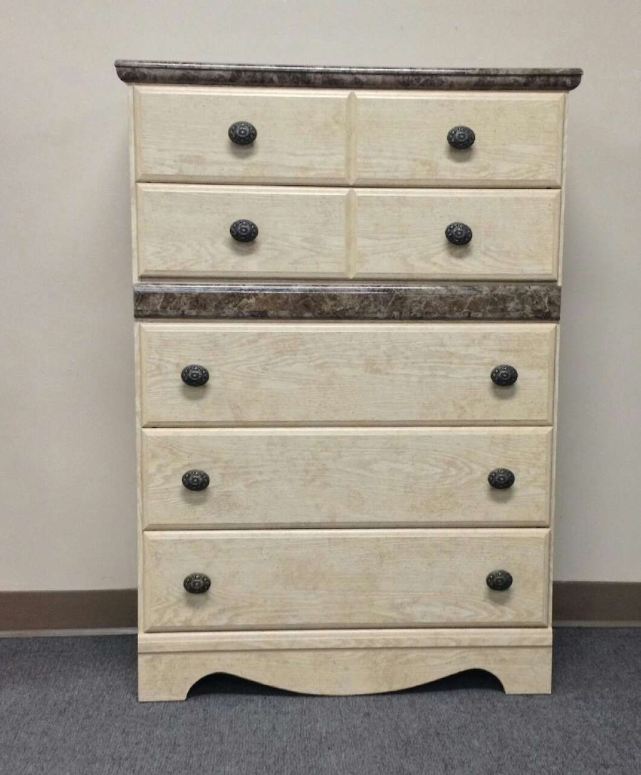 white and gray wooden drawer