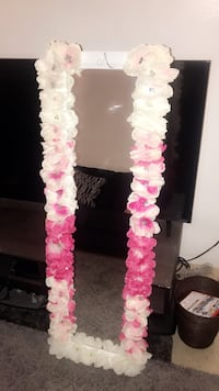 Pink and White Ombre Custom Mirror w/ Rhinestone letter A New York, 11208