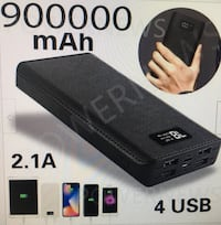 Digital Portable Power Bank with 4 USB ports and charging cable