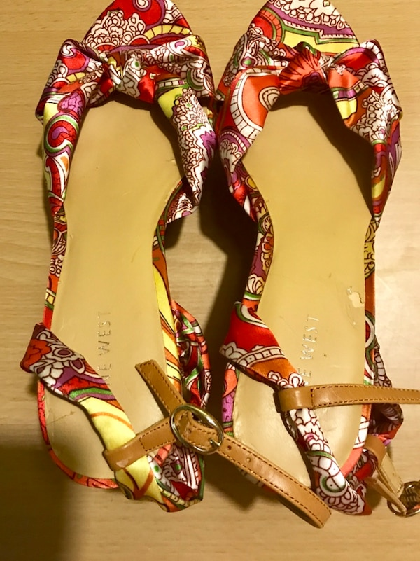 NINE WEST MULTICOLORED WEDGE HEEL SANDAL SHOES SIZE 9B f77112f1-a5be-45c4-b97b-03cbbee528b8
