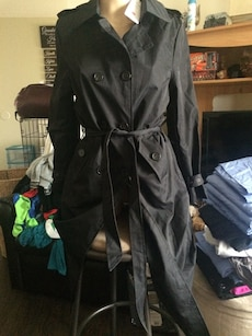 black waist tie double breasted coat