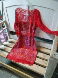 red floral mesh crew-neck long-sleeved dress Downey, 90242