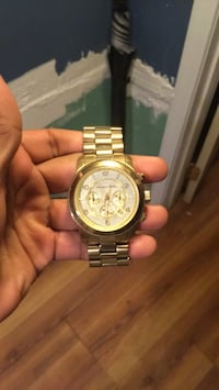 round gold-colored chronograph watch with link bracelet Hyattsville, 20781