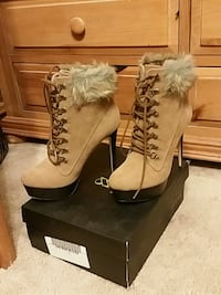 brown suede platform fur-trim stiletto booties with box Denver, 80229