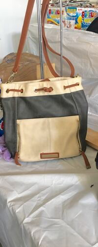 gray and brown leather crossbody bag Exeter, 93221