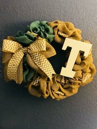 "16"" Burlap Wreath-different letters available Midland, 79707"