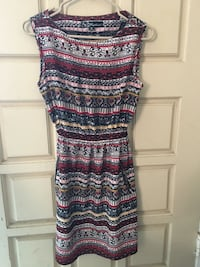 black and multicolored tribal print sleeveless dress