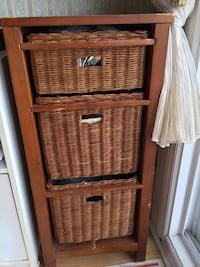 brown wicker 3-drawer chest Laval, H7P