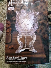 Bowl Votive Crystal  With Silver Planted Stand Woodstock, 30188