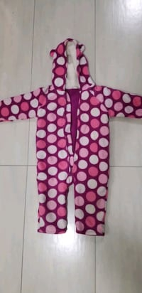 Fleece jumpsuit polka dots girl