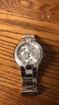 round silver-colored chronograph watch with link bracelet Parsippany, 07054