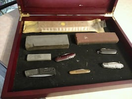 Knives and sharpening stones.