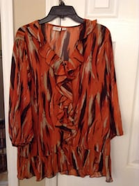 Ladies sz 1X Orange/brown/tan colored chiffon blouse by CATO Hudson, 28638