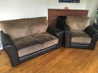 Brown leather love seat and chair