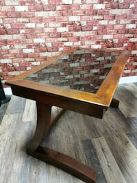 Solid wood office desk. Semi glass top. Includes delivery