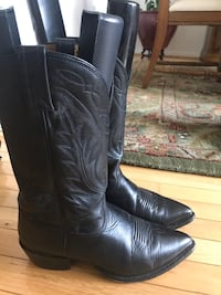 pair of brown leather cowboy boots 24 km