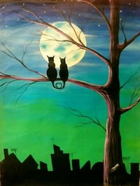 Unstretched Cats Moonlight painting Washington, 20011