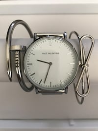 Round silver-colored analog watch with link bracelet Trinity, 34655