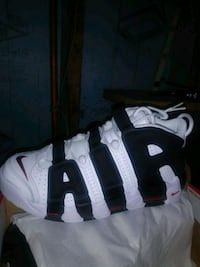 pair of white-and-black Nike basketball shoes Detroit, 48210