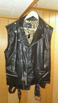 black leather zip-up vest Waukegan