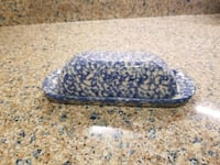 Workshops of Gerald E Henn blue sponge ware covered butter dish  Montclair, 22025