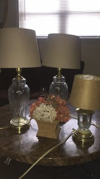 3 glass lamps and fake flowers Greensboro, 27401