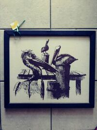 Beach birds etched in cloth with wood frame Myrtle Beach, 29577