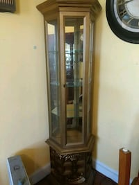 brown wooden framed glass curio cabinet Doylestown, 18902