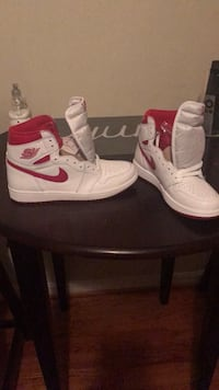 pair of white-and-red Air Jordan shoes Washington, 20006