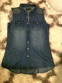 women's blue denim top
