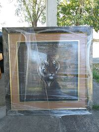 brown wooden frame painting of tiger wall decor Sacramento, 95838