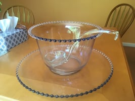 Glass Punch Bowl with Ladle and Platter