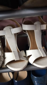 pair of white leather open-toe ankle strap heels Centreville, 20120