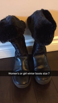 black leather fur-lined boots Calgary, T1Y 1X8