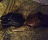 pair of two black and brown leather 2-buckled mule clogs Columbus, 43224