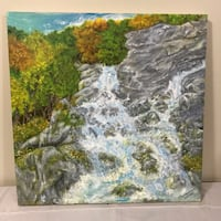 Original one of a kind hand painted textured oil paint waterfall painting artwork. Landscape. 3D. Green. Light blue. Grey. Orange. Water. Zen. On-of-a-kind. Artisan. Trees. Rocks. Serene. Tranquil. Nature. Original   Burlington, L7M 3M8