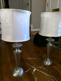 two gray-and-white table lamps Arlington