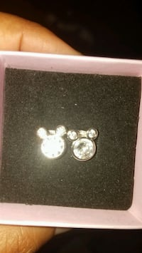 Mickey Mouse Shaped Rhinestone Disney Stud Earrings Sterling Silver  Indianapolis, 46254
