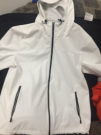 White zip-up jacket