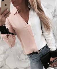 BRAND NEW PINK WHITE & BLACK BLOUSE - BLOUSE SIZE SMALL