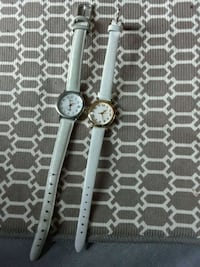 round silver analog watch with white leather strap San Jose, 95111