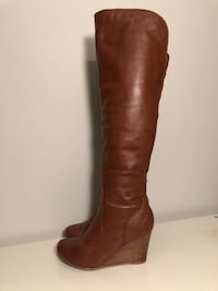 Cognac over-the-knee wedge boots size 8.5