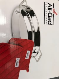 """NEW All-clad 15"""" oval baker with two red pot holders Newton, 02467"""