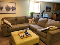 brown suede sectional sofa with ottoman Fargo, 58104