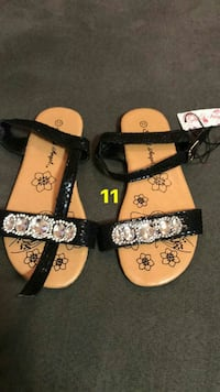 size 11 brown-and-black leather flat sandals Lafayette, 47904