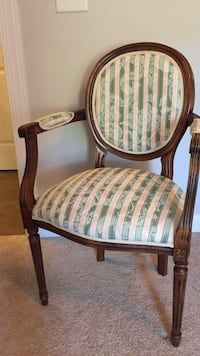 brown wooden framed white and green padded armchair Leland, 28451