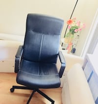 Black leather rolling armchair  Acton, 01720