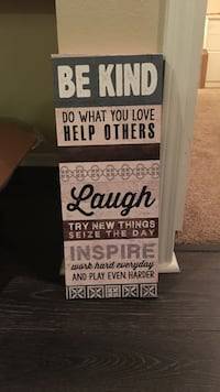 white and black wooden quote board Denver, 80235