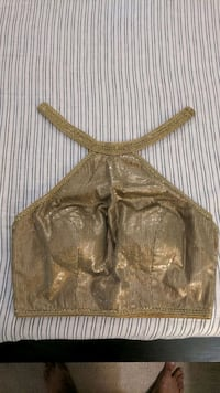 Gold sequin halter crop top. Size M.