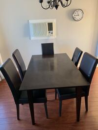 Rectangular brown wooden table with five chairs dining set Surrey, V3R 8H2